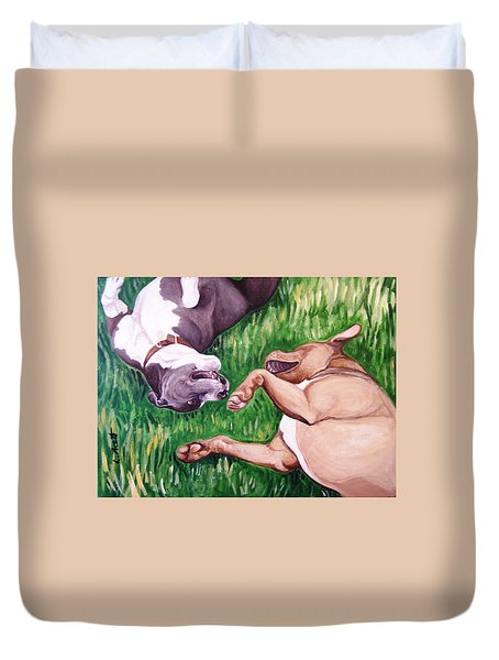 Duvet Cover featuring the painting Free Fallin' by Laura Aceto