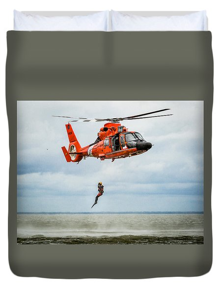 Duvet Cover featuring the photograph Free Falling Rescue Swimmer by Gregory Daley  PPSA