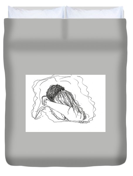 Duvet Cover featuring the drawing Free Hugs Bw by Denise Fulmer