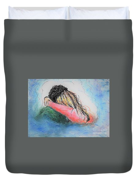 Duvet Cover featuring the mixed media Free Hugs by Denise Fulmer