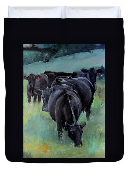 Free Range Cow Girls Duvet Cover by Michele Carter