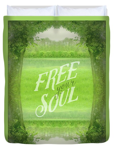 Free Your Soul Grand Canal Forest Fontainebleau Chateau Duvet Cover