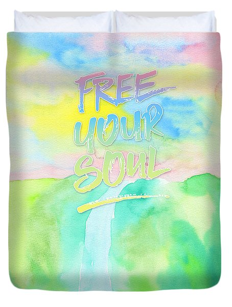 Free Your Soul Watercolor Colorful Spring Waterfall Painting Duvet Cover