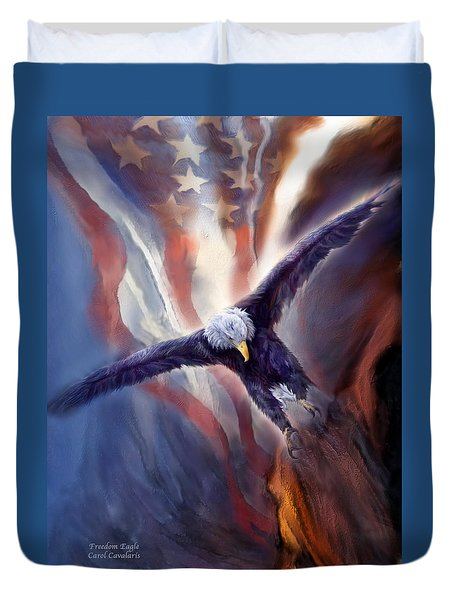 Duvet Cover featuring the mixed media Freedom Eagle by Carol Cavalaris