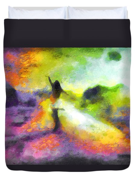 Freedom In The Rainbow Duvet Cover