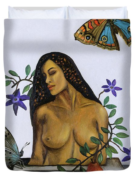 Duvet Cover featuring the painting Freedom by Leah Saulnier The Painting Maniac