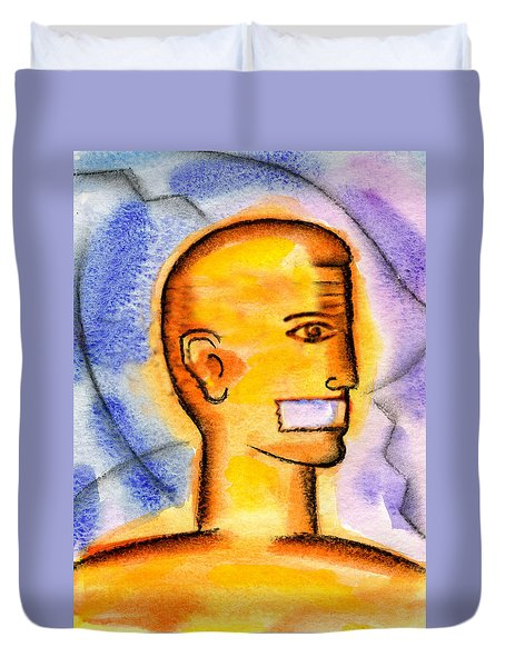 Duvet Cover featuring the painting Freedom Of Press  by Leon Zernitsky