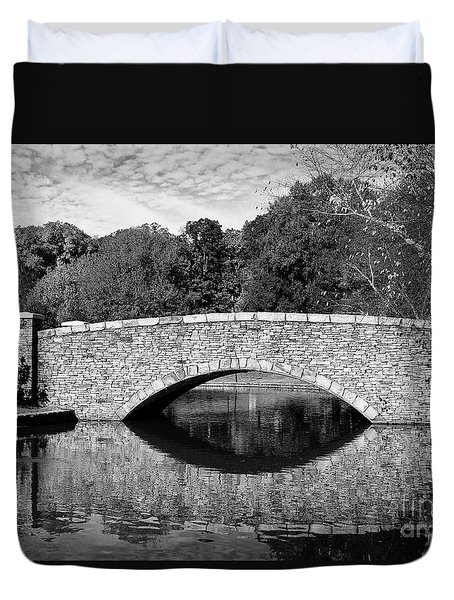 Freedom Park Bridge In Black And White Duvet Cover
