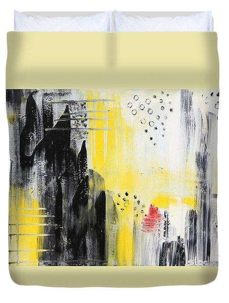 Duvet Cover featuring the painting Freedom by Sladjana Lazarevic