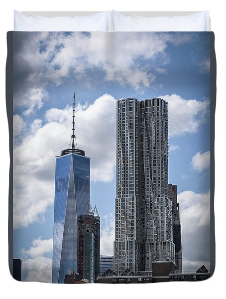 Freedom Tower Duvet Cover by Judy Wolinsky