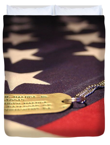 Duvet Cover featuring the photograph Freedom's Price by Laddie Halupa