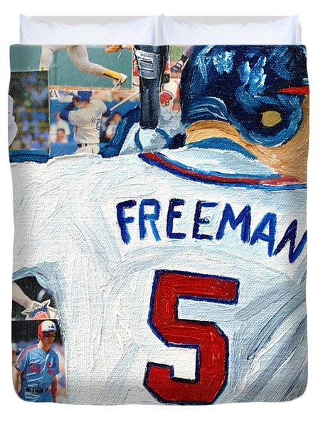 Freeman At Bat Duvet Cover by Michael Lee