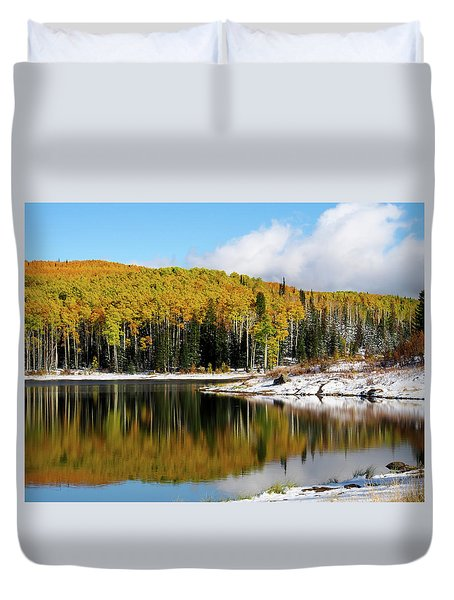 Duvet Cover featuring the photograph Freeman Lake In Northwest Colorado In The Fall by Nadja Rider