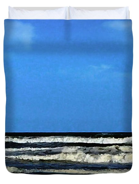 Duvet Cover featuring the digital art Freeport Texas Seascape Digital Painting A51517 by Mas Art Studio