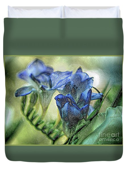Duvet Cover featuring the photograph Freesia Carved In Blue by Lance Sheridan-Peel