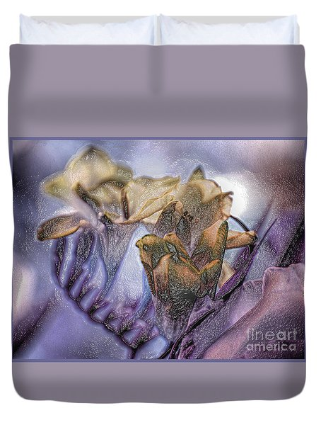 Duvet Cover featuring the photograph Freesia Carved One by Lance Sheridan-Peel