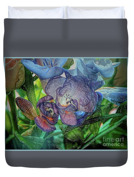 Duvet Cover featuring the photograph Freesia Multi Coloured by Lance Sheridan-Peel