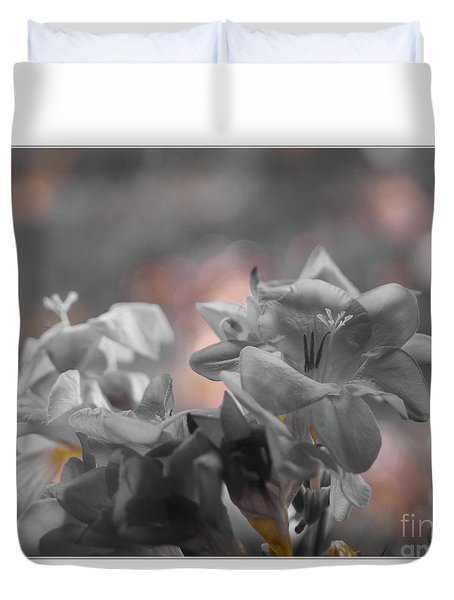 Duvet Cover featuring the photograph Freesia'a Without Colour by Lance Sheridan-Peel