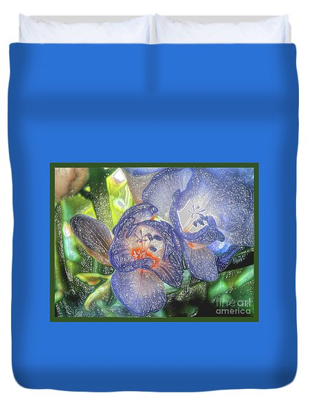 Duvet Cover featuring the photograph Freesia's In Bloom by Lance Sheridan-Peel