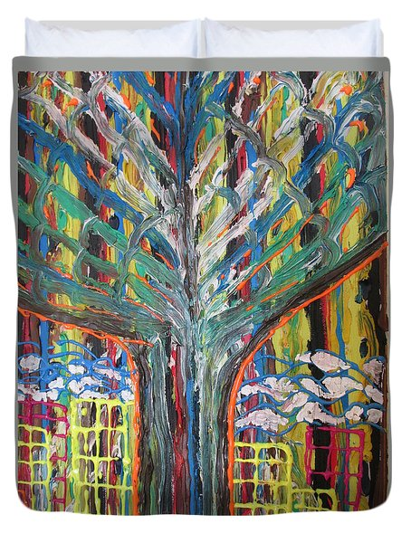 Freetown Cotton Tree - Abstract Impression Duvet Cover by Mudiama Kammoh