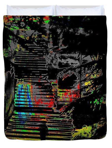 Freeway Park Steps Duvet Cover by Tim Allen
