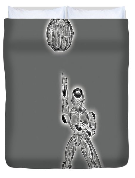 Duvet Cover featuring the digital art Freeza Black And White by Ray Shiu