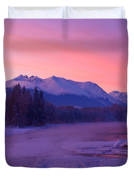 Freezing Under The Glow Duvet Cover