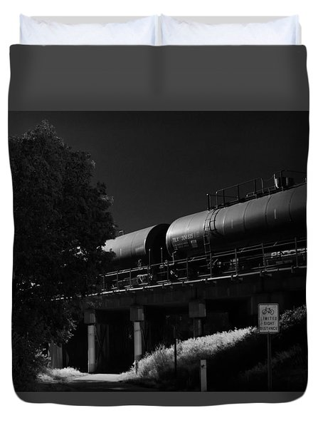 Freight Over Bike Path Duvet Cover