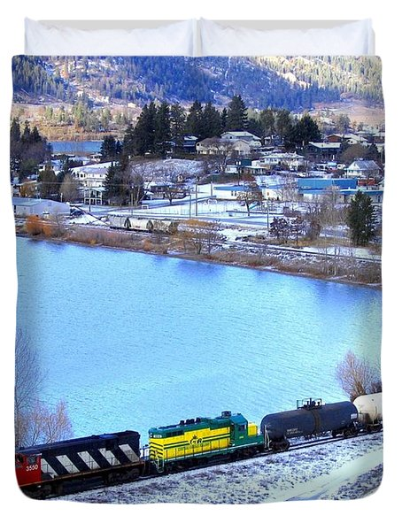 Freight Train At Oyama Duvet Cover