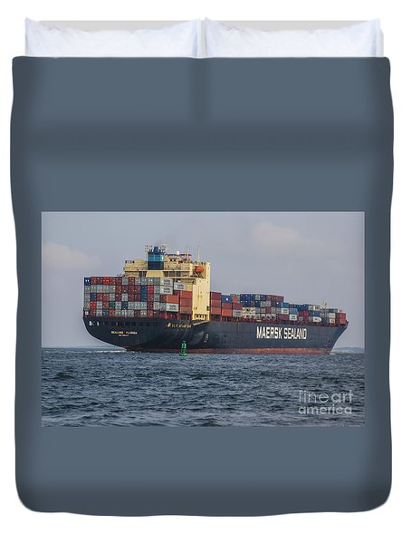 Freighter Headed Out To Sea Duvet Cover