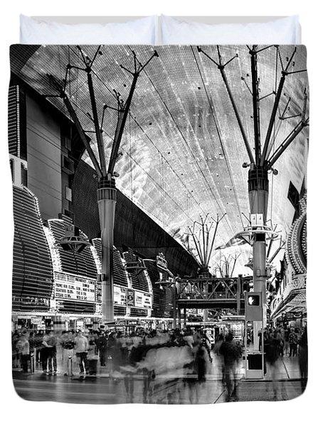 Fremont Street Casinos Bw Duvet Cover