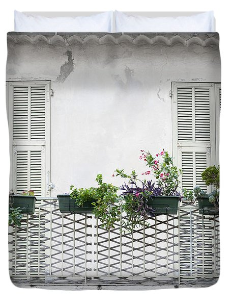 French Balcony With Shutters Duvet Cover