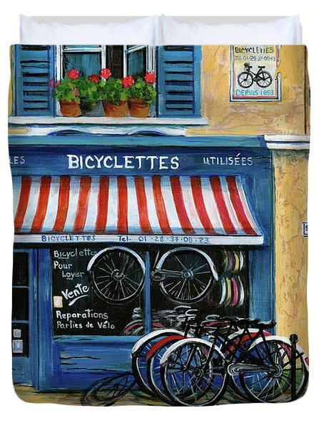 French Bicycle Shop Duvet Cover