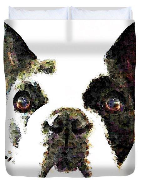 French Bulldog Art - High Contrast Duvet Cover by Sharon Cummings
