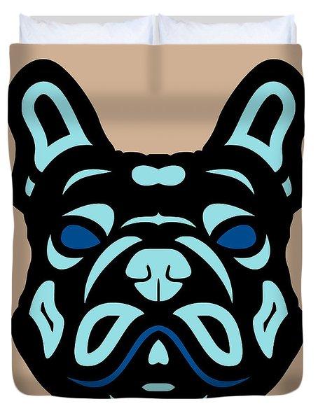 French Bulldog Francis - Dog Design - Hazelnut, Island Paradise, Lapis Blue Duvet Cover