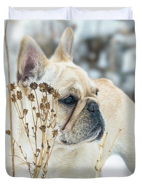 French Bulldog In The Snow Duvet Cover