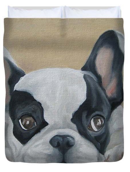 Duvet Cover featuring the painting French Bulldog by Jindra Noewi