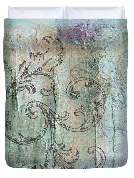 Duvet Cover featuring the painting French Country Scroll In Muted Blue by Jocelyn Friis