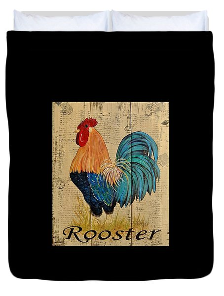 French Country Shabby Cottage Rooster Duvet Cover