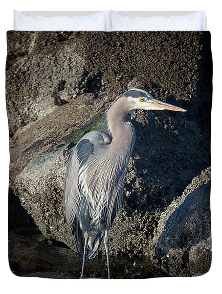 Duvet Cover featuring the photograph French Creek Heron by Randy Hall