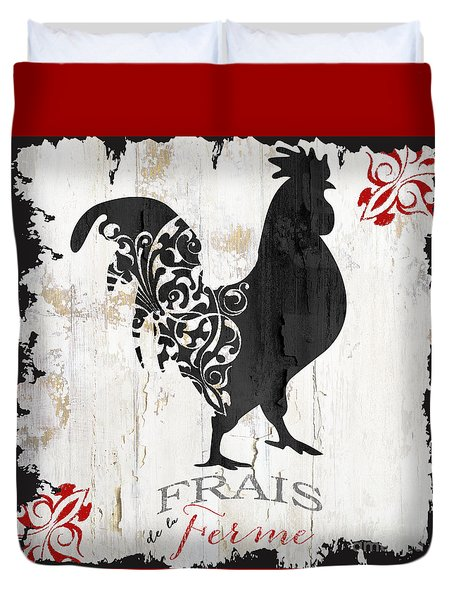 French Farm Sign Rooster Duvet Cover