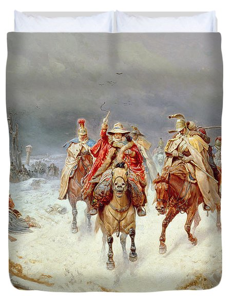 French Forces Crossing The River Berezina In November 1812 Duvet Cover by Bogdan Willewalde