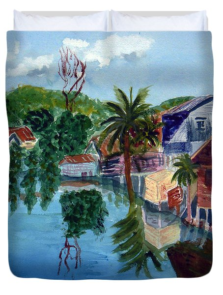 French Harbor Isla De Roatan Duvet Cover