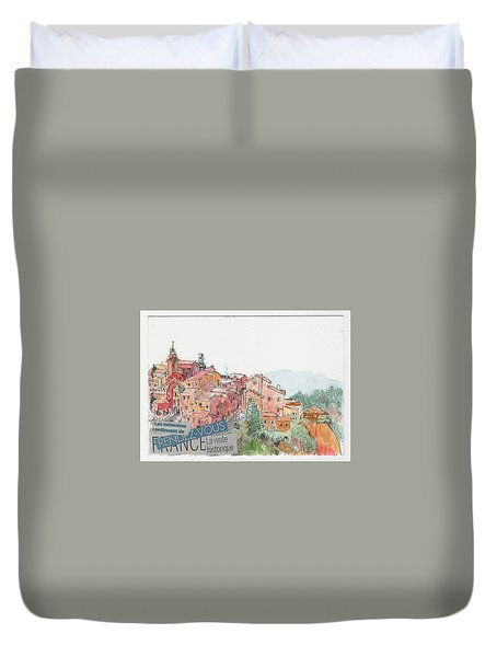 Duvet Cover featuring the painting French Hill Top Village by Tilly Strauss