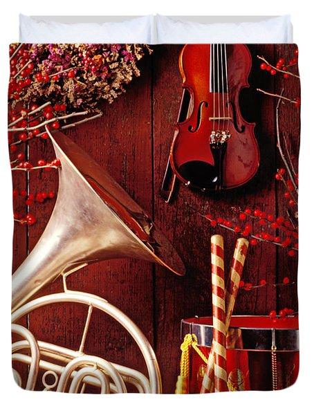 French Horn Christmas Still Life Duvet Cover