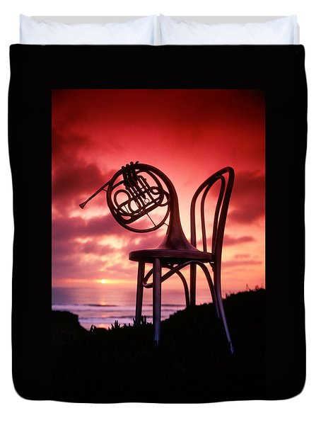 French Horn On Chair Duvet Cover by Garry Gay