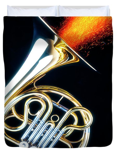 French Horn Shooting Sparks Duvet Cover