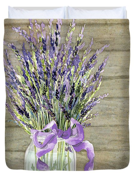French Lavender Rustic Country Mason Jar Bouquet On Wooden Fence Duvet Cover