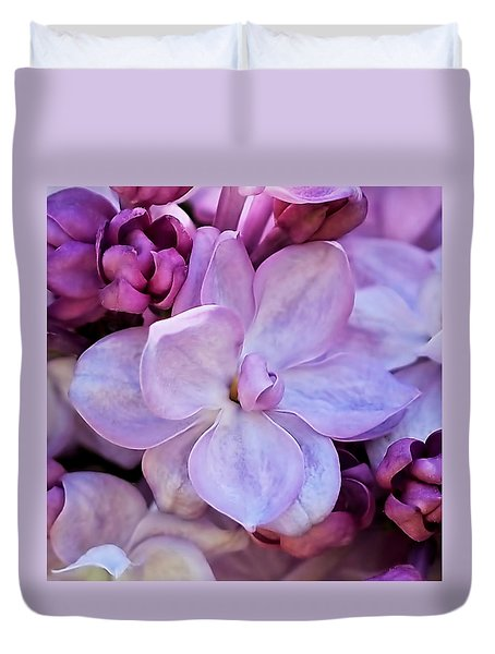 French Lilac Flower Duvet Cover by Rona Black