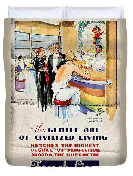 French Line - Bits Of France Afloat - Vintage Poster Folded Duvet Cover